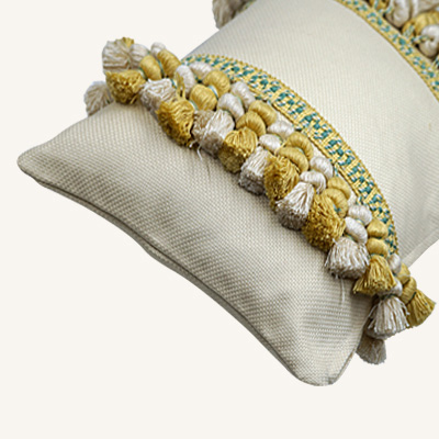 Ivory Cushion Cover With Yellow And White Tassels Gafencu