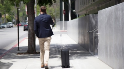 The Ovis by Forward X is a smart suitcase that follows its users unaided