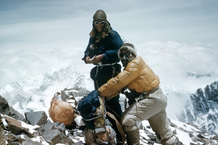 Sir Edmund Hillary and Tenzing Norgay atop Mount Everest