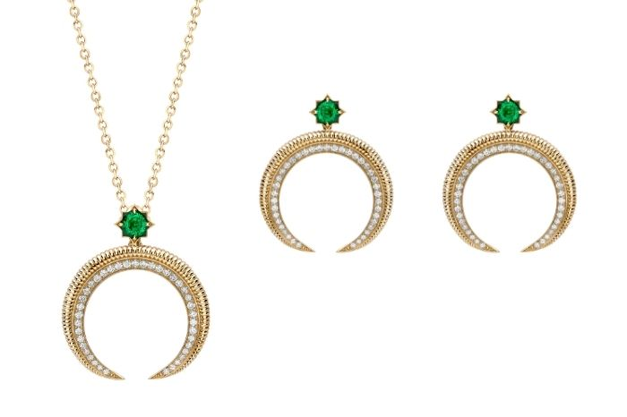 Faberge Hilal Crescent Collection Pendant and Earrings