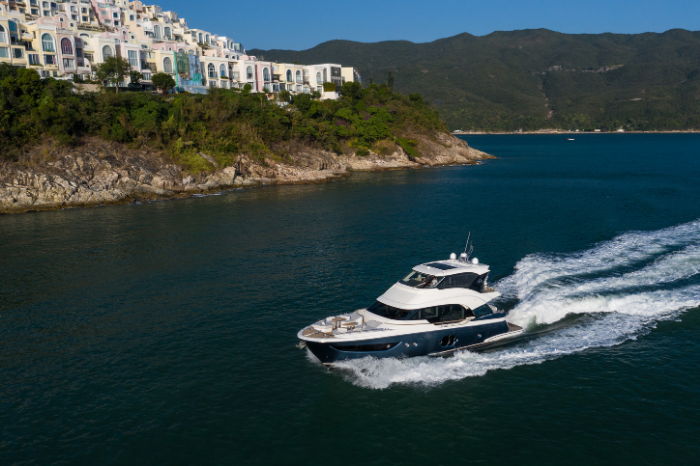 Introducing Monte Carlo Yacht's new MCY 70 Skylounge gafencu magazine asia yachting cruise at tai tam bay